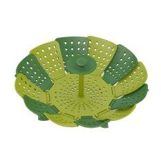 Heat-Resistant Silicone Lotus Plus Folding Non-Scratch Steamer Basket (green) By Isure Store