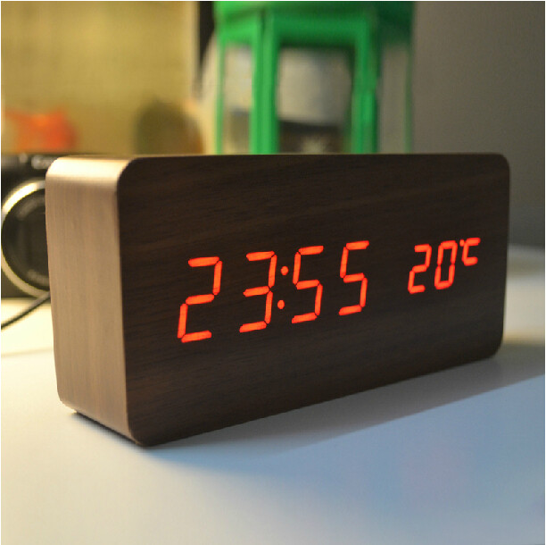 High-quality Alarm clocks with Thermometer wood wooden Led clocks, Digital Table Clock electronic clocks