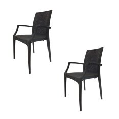 [High Quality] Set Of 2 Modern Lovett Arm Stretch Dining Chair - Anthacite