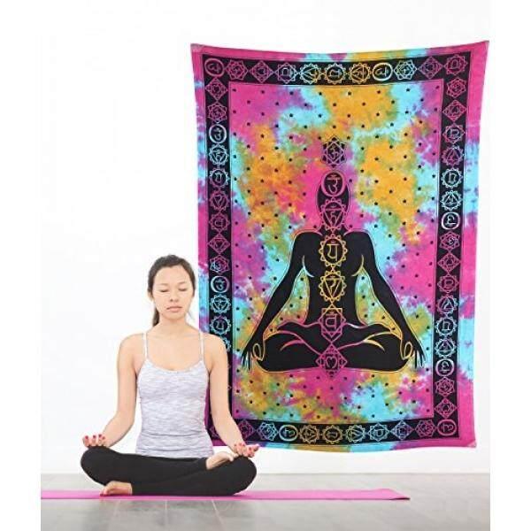 Hippie Mandala Meditasi Yoga Bohemian Permadani Kembar Psychedelic Yang  Rumit Buatan Tangan Tie Dye Desain Seprai a954ada6a4