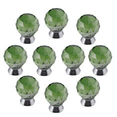 HKS Modern Furniture Handles Green Crystal Sphere Ball Cabinet Drawer Knobs Set of 10