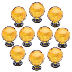 HKS Modern Furniture Handles Yellow Crystal Sphere Ball Cabinet Drawer Knob Set of 10
