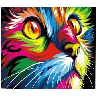 Home Living Wall Stickers Colorful Cat Face Diy Digital Oil Hand Painting Wall Decor(Colormix) - intl