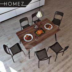 Homez Modern Contemporary Dining Table Set HMZ-DT-M01(14080)+HMZ-DC-9031 with 6 Chairs - Black