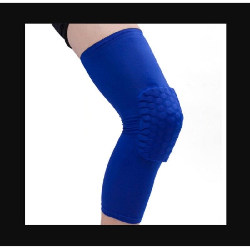 Honeycomb Pad Crashproof Antislip Basketball Leg Knee Long Sleeve Protector Gear Blue Length:41cm/16.1in
