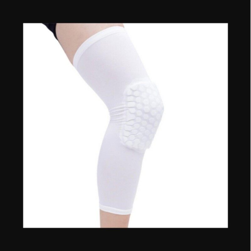 Honeycomb Pad Crashproof Antislip Basketball Leg Knee Long Sleeve Protector Gear White Length:41cm/16.1in