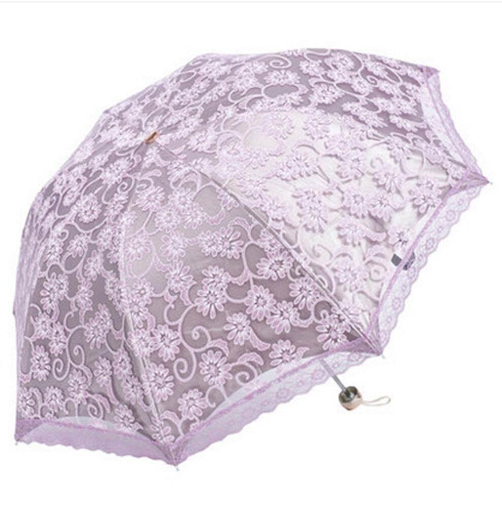 HONGHUI Compact Lace Wedding Parasol Folding Travel Sun Umbrella UV Block (Apricot) - intl