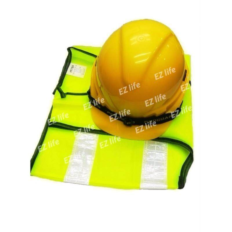 Ezlife HOT ITEM (Safety Helmet Yellow Colour SIRIM And Reflective Vest ) for Construction Or Industry
