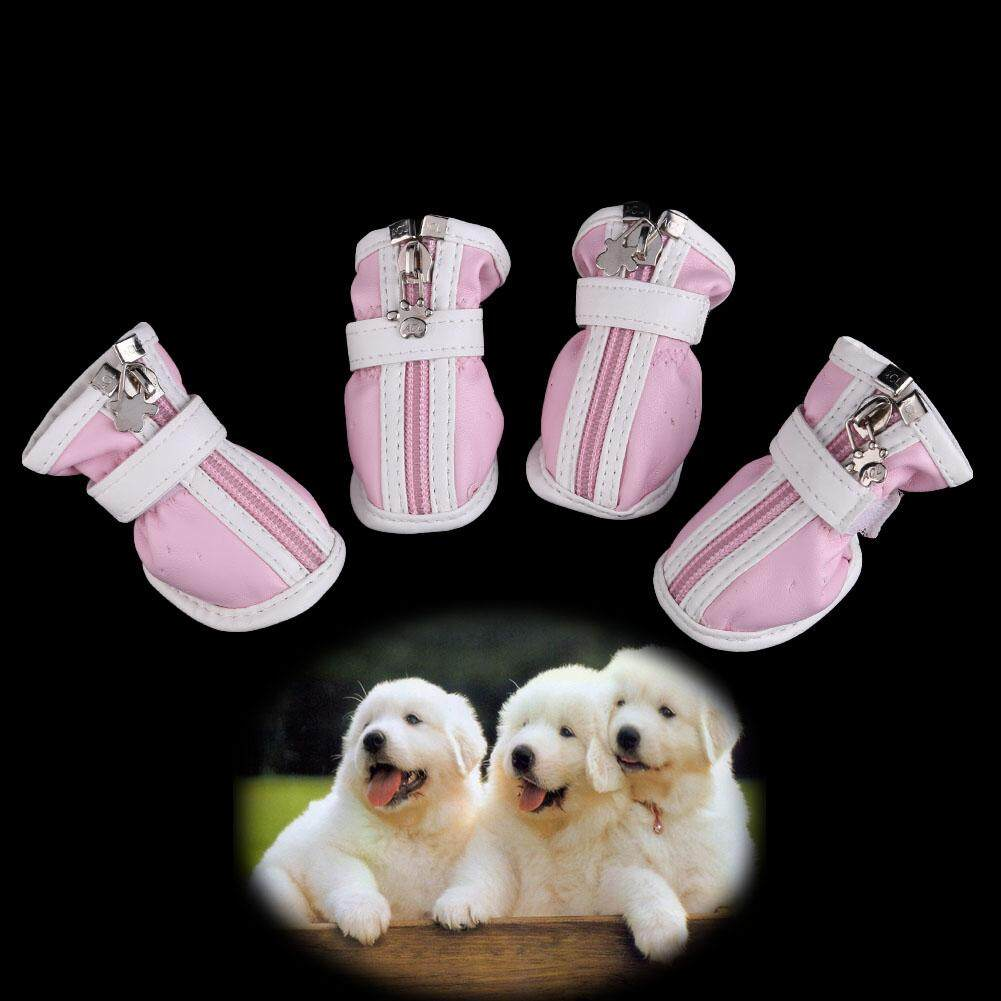 Hot PU Comfortable Boots Waterproof Shoes For Small Big Pet Dog Pink No.3