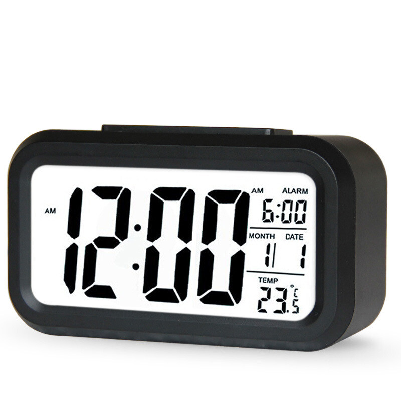 Hot Sale Clock Digital LED Snooze Electronic Alarm Clock Backlight Time Calendar Thermometer 6 Colors LED ...