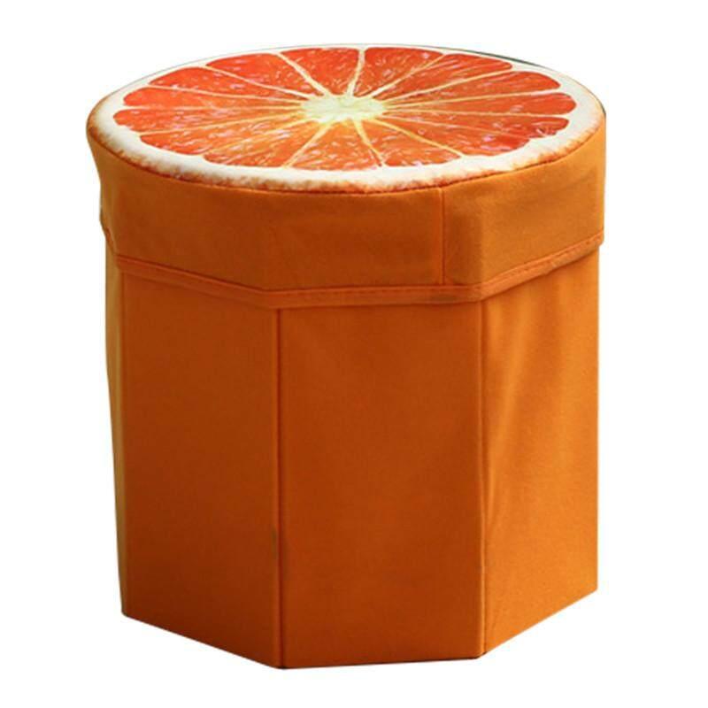 Hot Sales Funny High capacity Folding Stools Storage Storage box Debris Case - Orange - intl