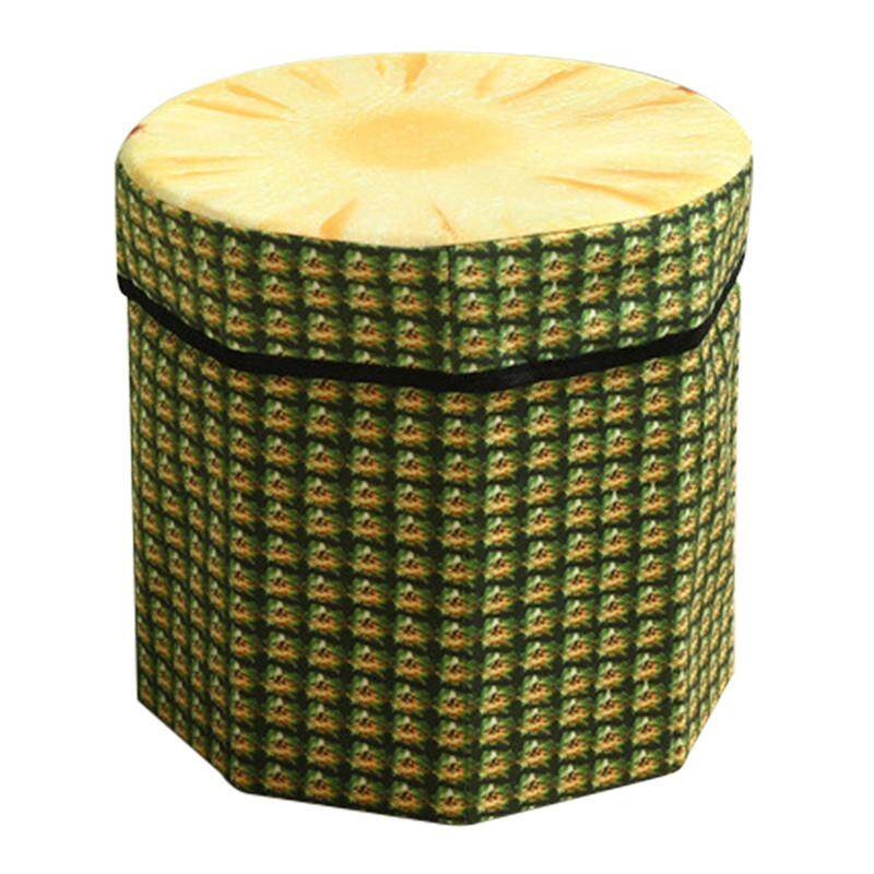 Hot Sales Funny High capacity Folding Stools Storage Storage box Debris Case - pineapple - intl