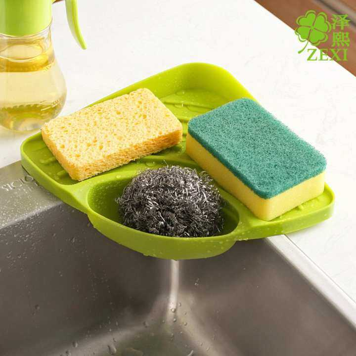 Hot Sales Triangular Kitchen Sink Corner Shelf Wall Mounted Sponges Storage Rack with Drain Grooves Creative