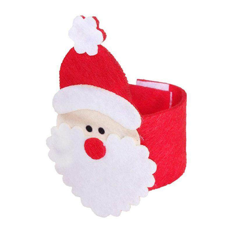 Hot Serbet Gambar Santa Dudukan Cincin untuk Meja Makan Malam Natal Ornamen Dekorasi