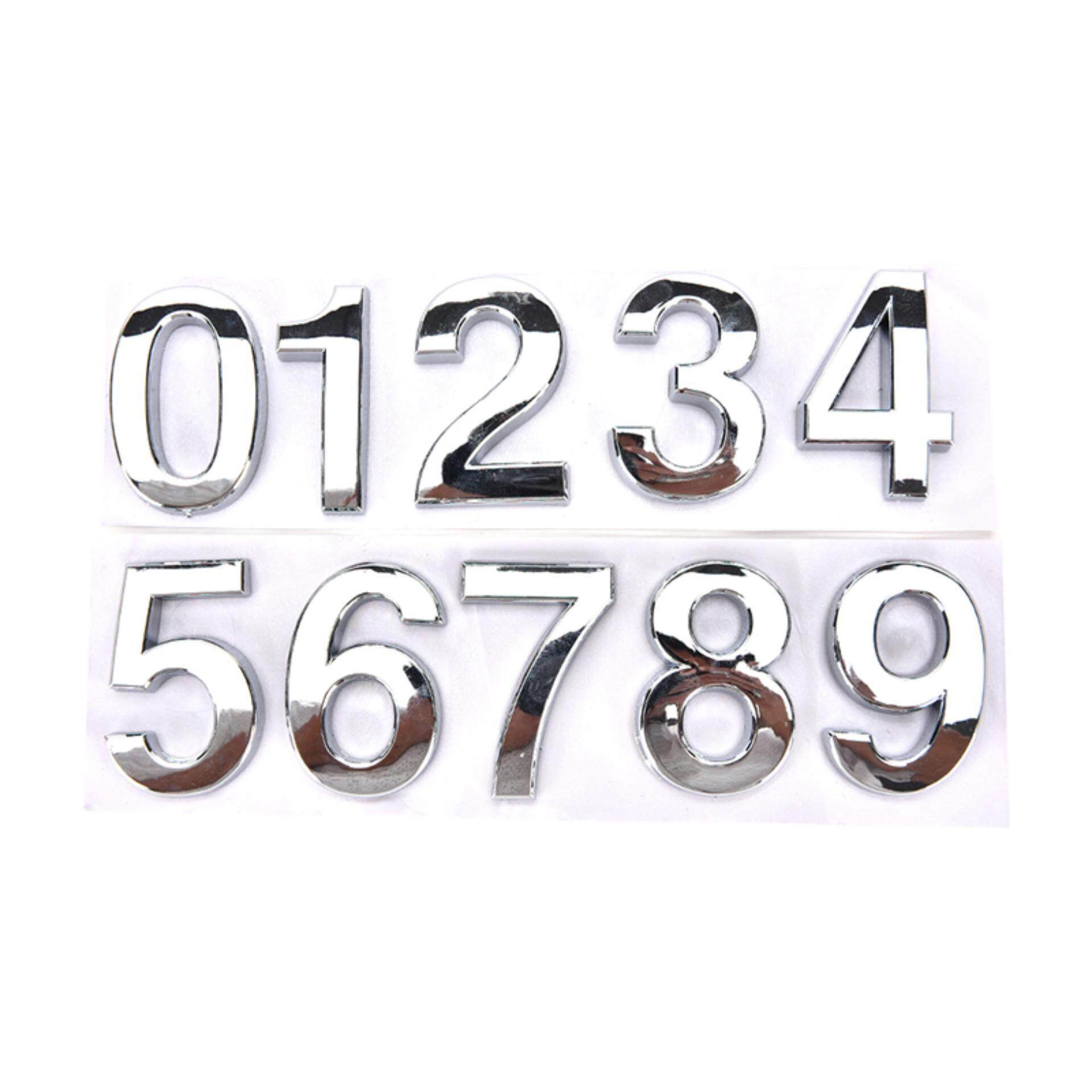 House Hotel Door Address Plaque Number Digits Sticker Plate Sign House Silver 1 - intl
