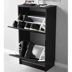 Ikea 802.564.50 Bissa Foldable Shoe Cabinet   2 Compartment (Black)