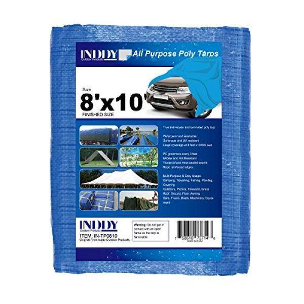 Inddy Tarps 8 x 10 Feet Blue Canvas Tarp Waterproof Poly Tarp Cover il Thick 8 x 8 Weave Heavy duty tarp for camping shelter tent car boat truck cover sunshade and UV Resistant - intl