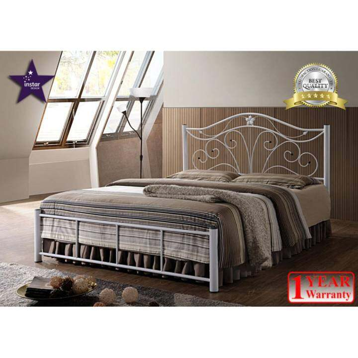 iNSTAR DESIGN BETTY QUEEN SIZE METAL BED FRAME (WHITE