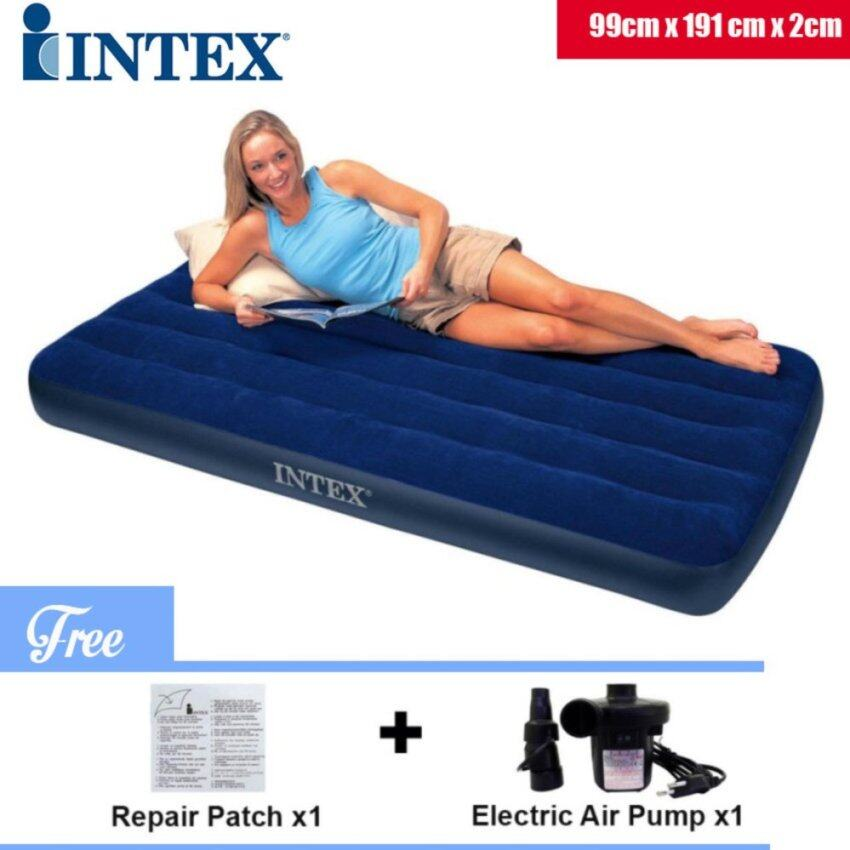 OurGoal INTEX 68757 0.99 Meter Inflatable Air Bed Mattress Single Size With