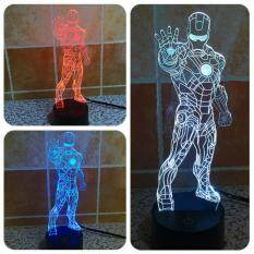 Iron Man Style 7 Colour Discoloration Creative Visual Stereo Lamp 3d Touch Switch Control Led Light Desk Lamp Night Light By Velishy.