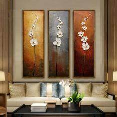 Ishowmall 3 Pcs/Set Modern Flower Unframed Canvas Abstract Painting Wall Art Picture