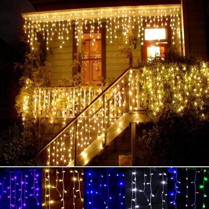 Jo.In 3.5m Droop 0.3-0.5m EU Plug Curtain Icicle String Lights 220V Christmas LED Lights Garden Xmas Wedding Party (Multicolor)