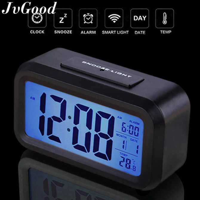 "JvGood 4.6"" Smart Backlight Digital Alarm Clock  Dimmer Temperature Low Light Sensor Morning Clock Bedroom Kids Girls Teens"