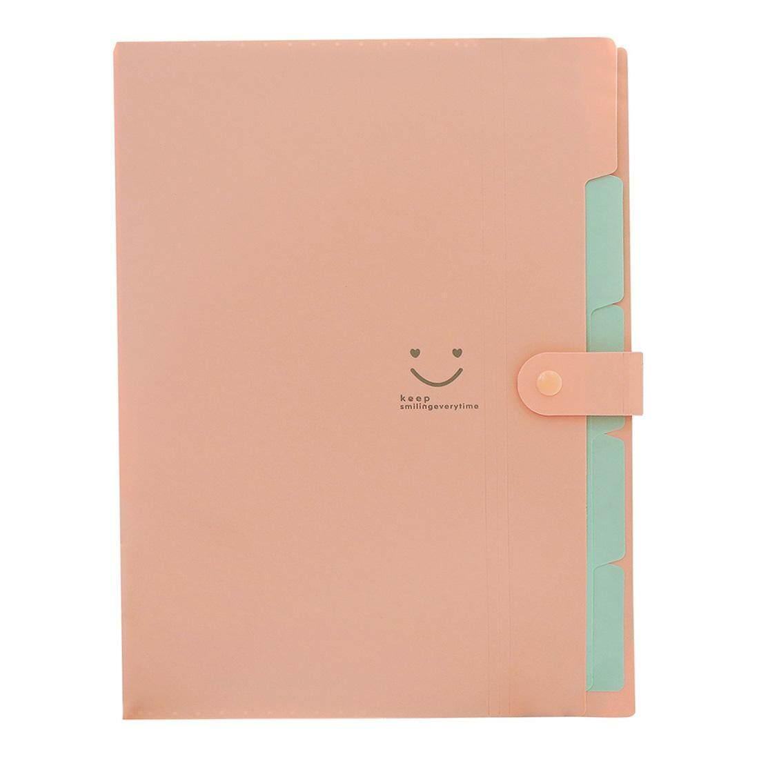 956dfeedd1a Kawaii FoldersStationery Carpeta File Folder 5layers Archivadores Rings A4  Document Bag Office Carpetas(Pink)