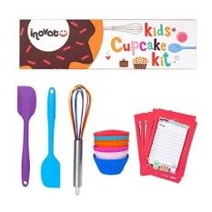 Kids Cupcake Kit / 15 Pieces / Colorful Gift Box / Perfect Kids Baking Set / Quality Whisk, Spatulas And Cupcake Cups / Bonus Shopping Lis And Coupon