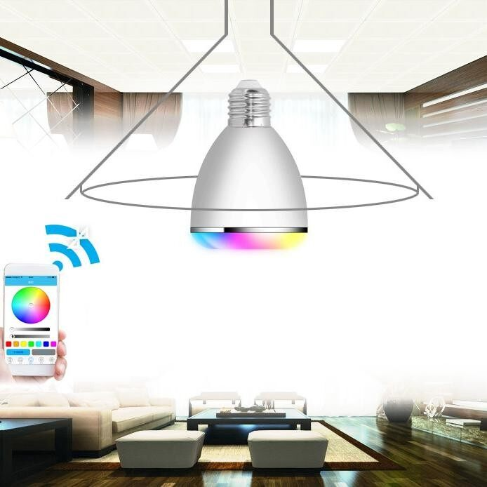 Hình ảnh KINCO E27 AC100-240V Smart LED Bulb Bluetooth Speaker APP Remote Control 4 Color Models 12 Bright Shades Timing Alarm Smart Bulb - intl