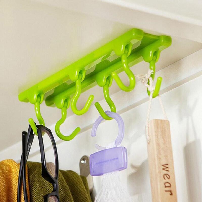 Veli shy Kitchen Ceiling Hook Storage Cabinets Wardrobe Rack Multi-purpose Hook Load 2KG Green