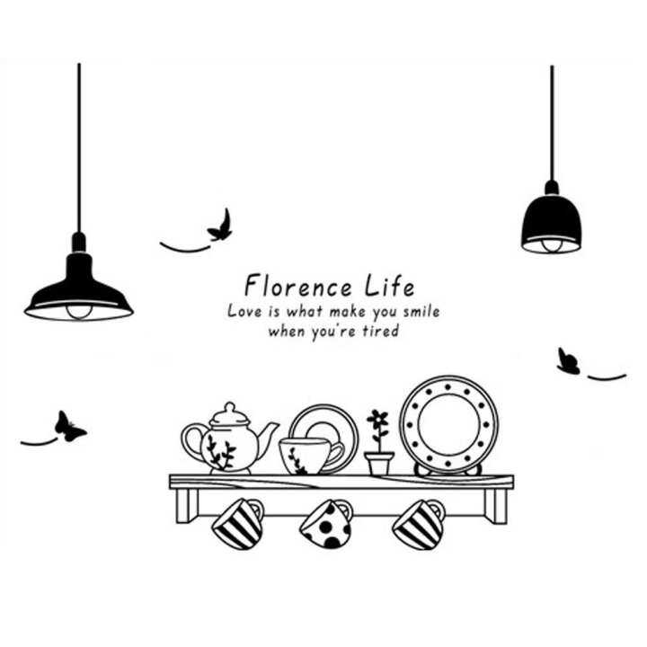 Kitchen Utensils Butterfly Letter Removable Wall Stickers Art Decals Mural DIY Wallpaper for Room Decal 60 * 90cm