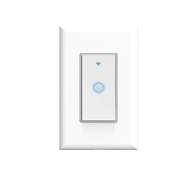 Kkcool Wifi Sakelar Lampu Pintar Sakelar, Jarak Jauh Pengendali Nirkabel, Diperlukan Kawat Netral, Tanpa Hub Diperlukan, kompatibel dengan Amazon Alexa dan Google Rumah-Internasional