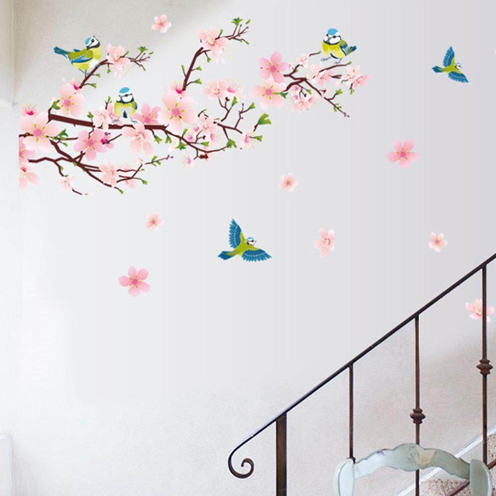 Kleinsho Room Peach Blossom Flower Butterfly Wall Stickers Vinyl Art Decals  Decor Mural   Intl