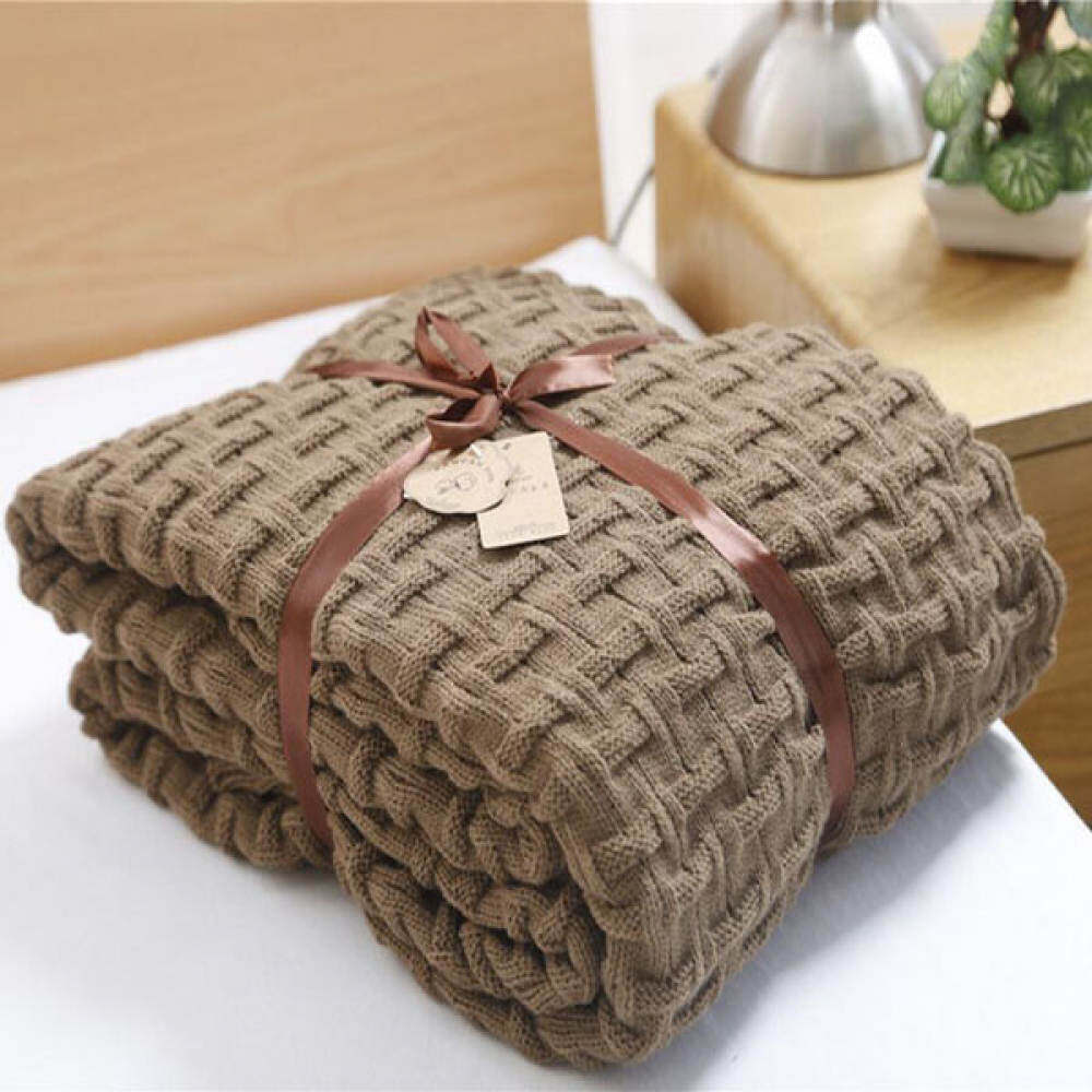 Qusmant Knitted Throw Blanket Solid Color Thread Blankets Washable Manta Autumn Cobertors Sofa Cobertor Coffee Nap