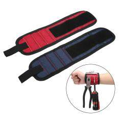 Kobwa 2Pack Magnetic Wristband, Embedded With Super Powerful Magnets For Holding Screws,Nails,Drilling Bits And Small Tools Tightly While Working,Cool Gift For Fathers Day,Red+Blue