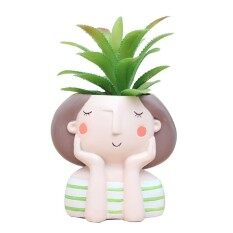 Cartoon Girl Design Succulent Plant Pot Cactus Flower Pot Home Decoration(Dream Girl Without Plant)