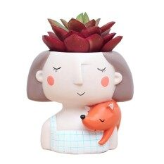 Cartoon Girl Design Succulent Plant Pot Cactus Flower Pot Home Decoration(Fox Girl Without Plant)