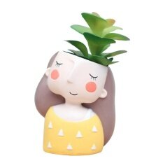 Cartoon Girl Design Succulent Plant Pot Cactus Flower Pot Home Decoration(Pure Girl Without Plant)