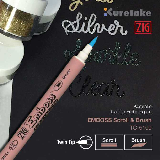 Kuretake ZIG TC-5100 Dual Tip Emboss Pen - SCROLL AND BRUSH