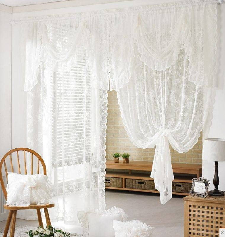 Low Cost Beautiful Lace Special Curtains Custom Yarn White Bed Mantle Intl