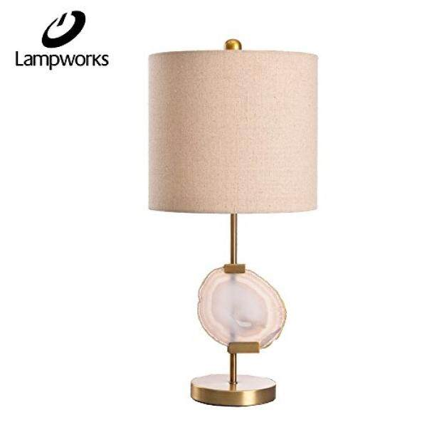 Lampworks Modern Style Metal Table Lamp Downlight Push Button Switch With  Agate And Fabric Lampshade Antique