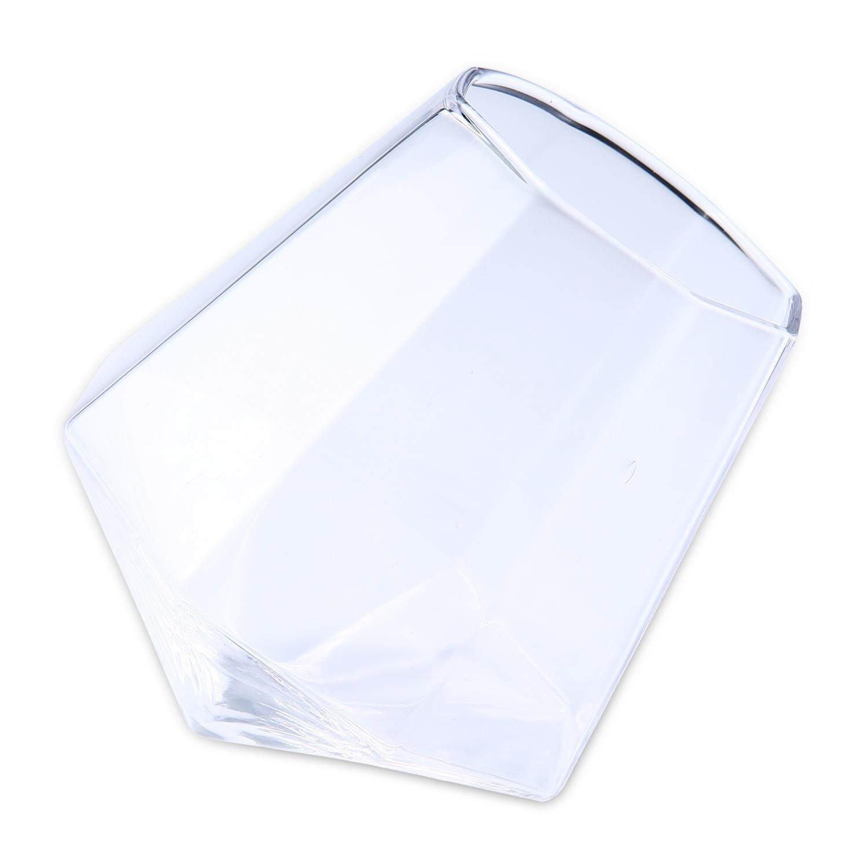 LaNan Whiskey Glass,Diamond Shaped Rotation Whiskey Clear Glass Drinking Mug,7.5x6cm - intl
