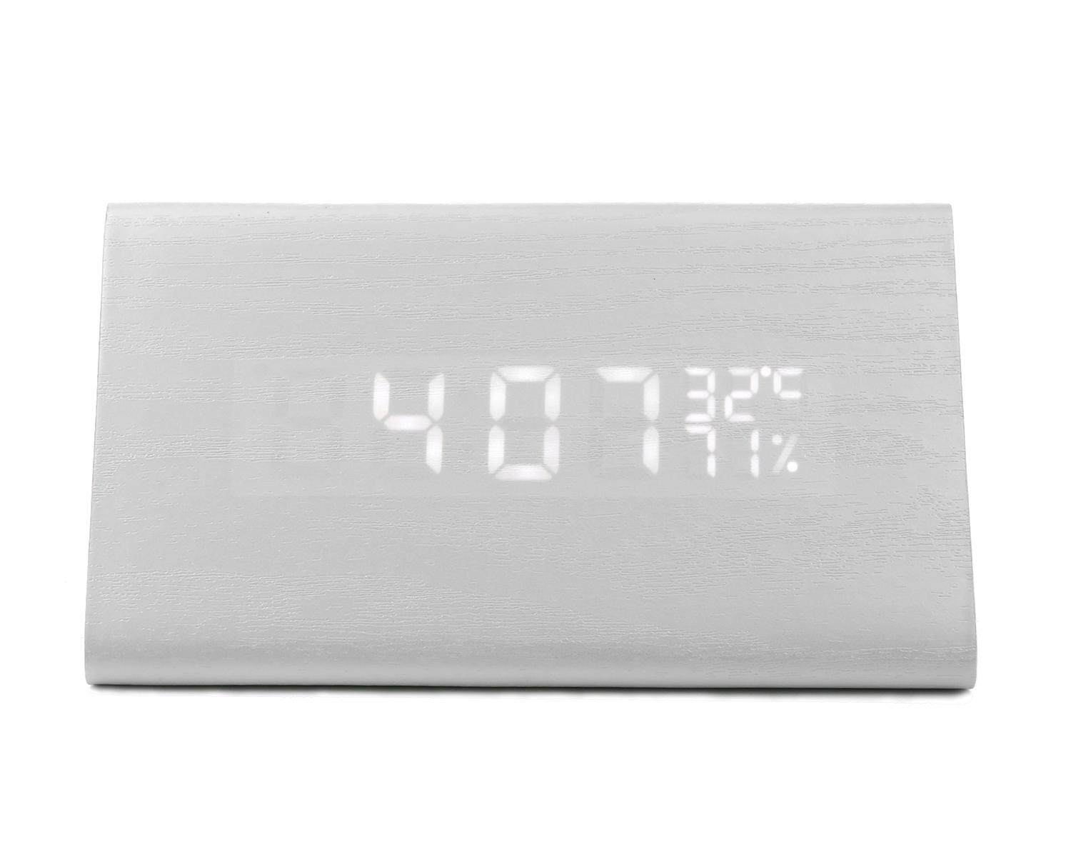 LaNan Wooden Triangle Wood Grain Sound Activated LED Digital Alarm Clock With Temperature And Humidity Display,White Wood - intl