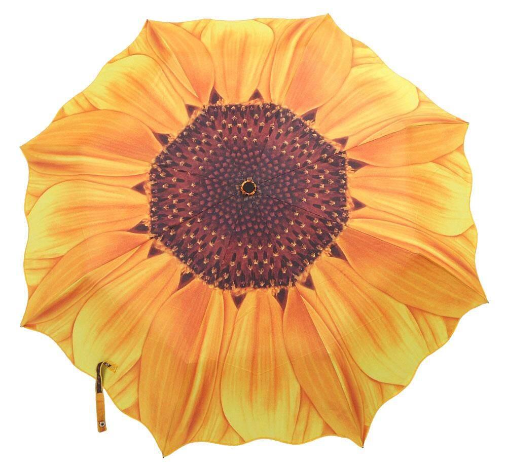 lanyasy Women Portable Sunflower Folding Travel Rain Umbrella Parasol,Yellow - intl