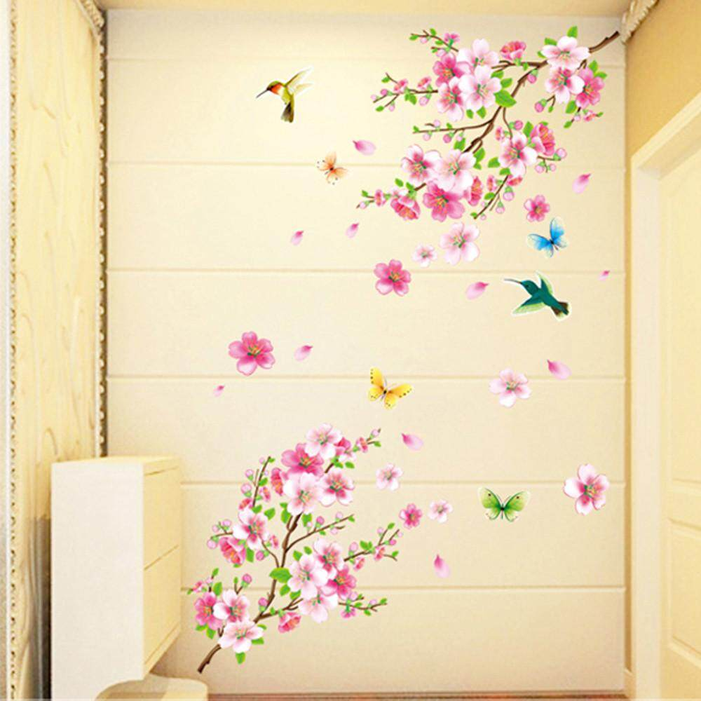 Large Cherry Blossom Flower Butterfly Tree Wall Stickers Art Decal Home  Decor   Intl