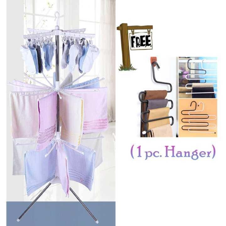 Laundry Goodies: 3 Tier Clothes Hanging & Drying Rack with Free Jeans Hanger