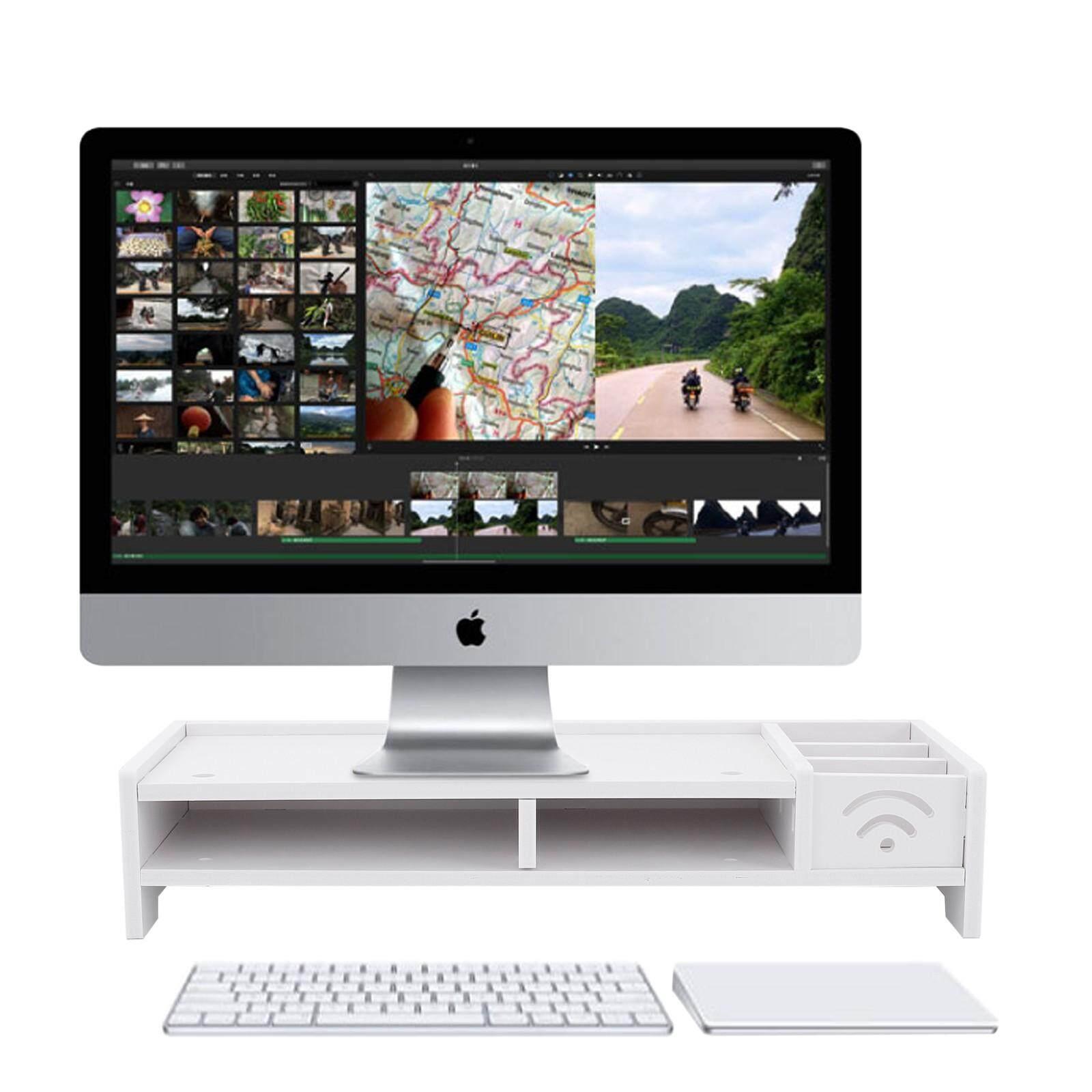 New Desktop Monitor Stand Lcd Tv Laptop Computer Screen Riser Shelf
