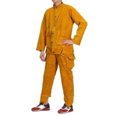Leather Welding Trousers & Long Coat Protective Clothing Apparel Suit for Welder 2XL