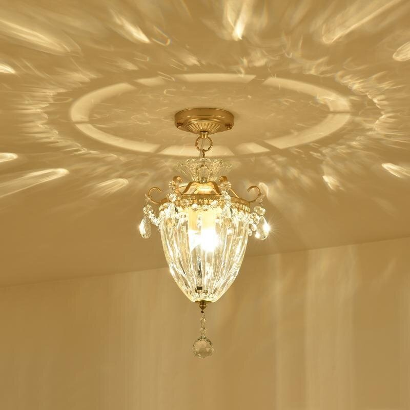 LED American Copper Crystal Ceiling Lamp Hall Entrance Hallway Corridor Bar Counter Lights Simple European Chandelier E27 - intl